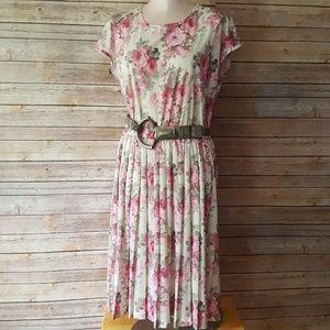 2 pc lot tea rose print dress w/vintage belt sz Md